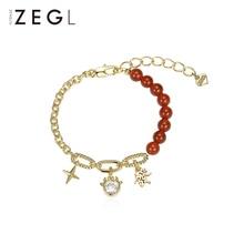 Zengliu Designer Year of the Ox Birth Year Red Agate Bracelet Female Ins Special-Interest Design Gra