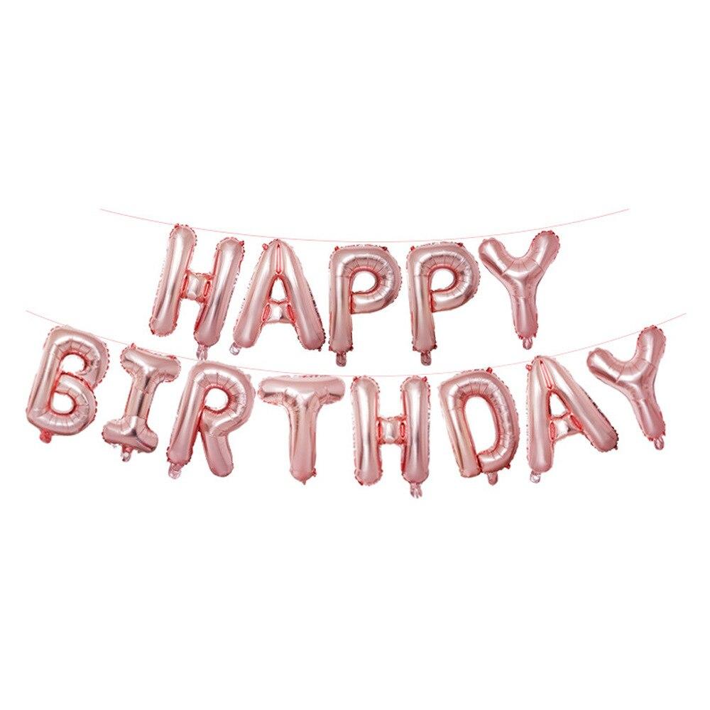 Rose Gold Birthday Decoration Aluminum Balloon Set Bar KTV Party Supplies Banner Ribbon 25pcs