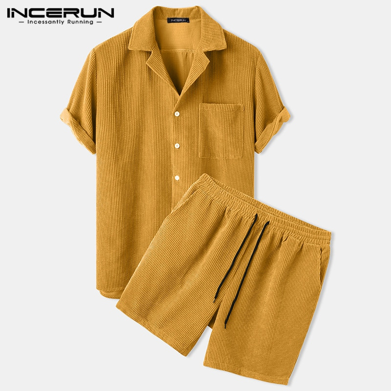 INCERUN Men Corduroy Sets Solid Color Short Sleeve Lapel Button Shirts & Shorts Chic 2021 Streetwear Mens Casual Suits S-5XL