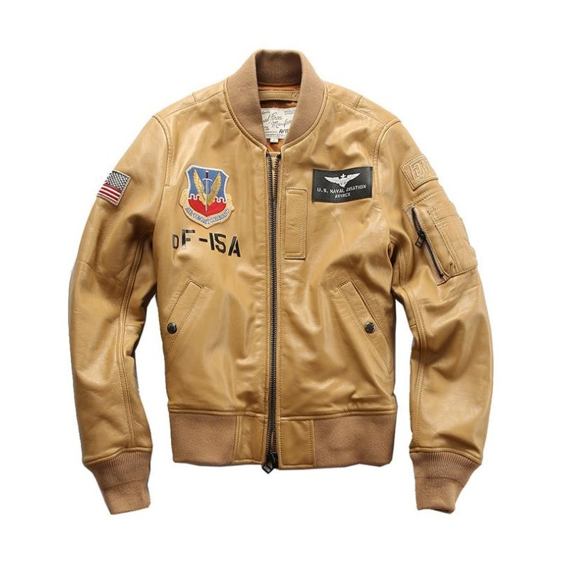 Flying suit sheepskin leather garment women's factory direct sales stand collar casual yellow baseball suit leather jacket