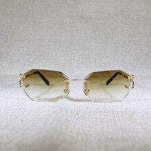Nuovi occhiali da sole senza montatura C Wire uomo occhiali donna per l'estate diamante taglio occhiali trasparenti montatura in metallo Oculos Gafas
