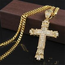 Punk croix pendentif hommes collier Hip Hop strass chaîne cubaine collier Hiphop hommes croix or longues chaînes Steampunk bijoux