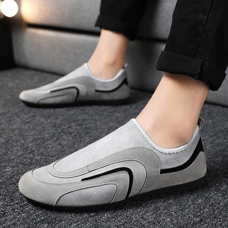 Hot Sale Men's Pea Soft Shoes Fashion Fit Feet Socks Shoes Male Lightweight Suede Moccasins Leisure Man Walking Footwear Loafers