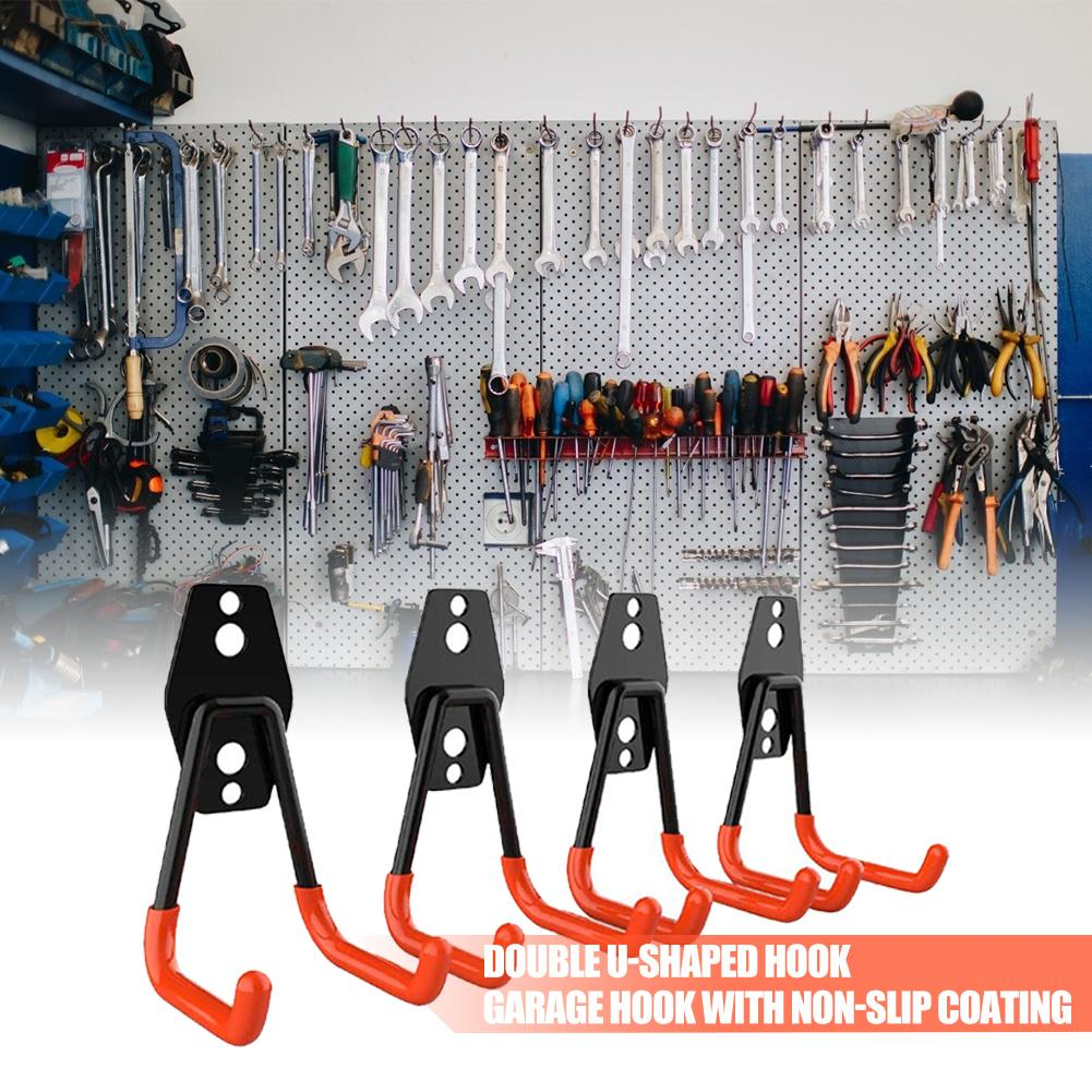 Durable 2 Hooks Wall Heavy Duty Screw Installation Warehouse Hook for Organizing Power Tool Holder Non-Slip Coating Supplies