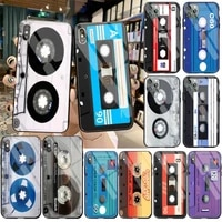 fashion classical old cassette tape phone case cover tempered glass for iphone 11 pro xr xs max 8 x 7 6s 6 plus se 2020 case