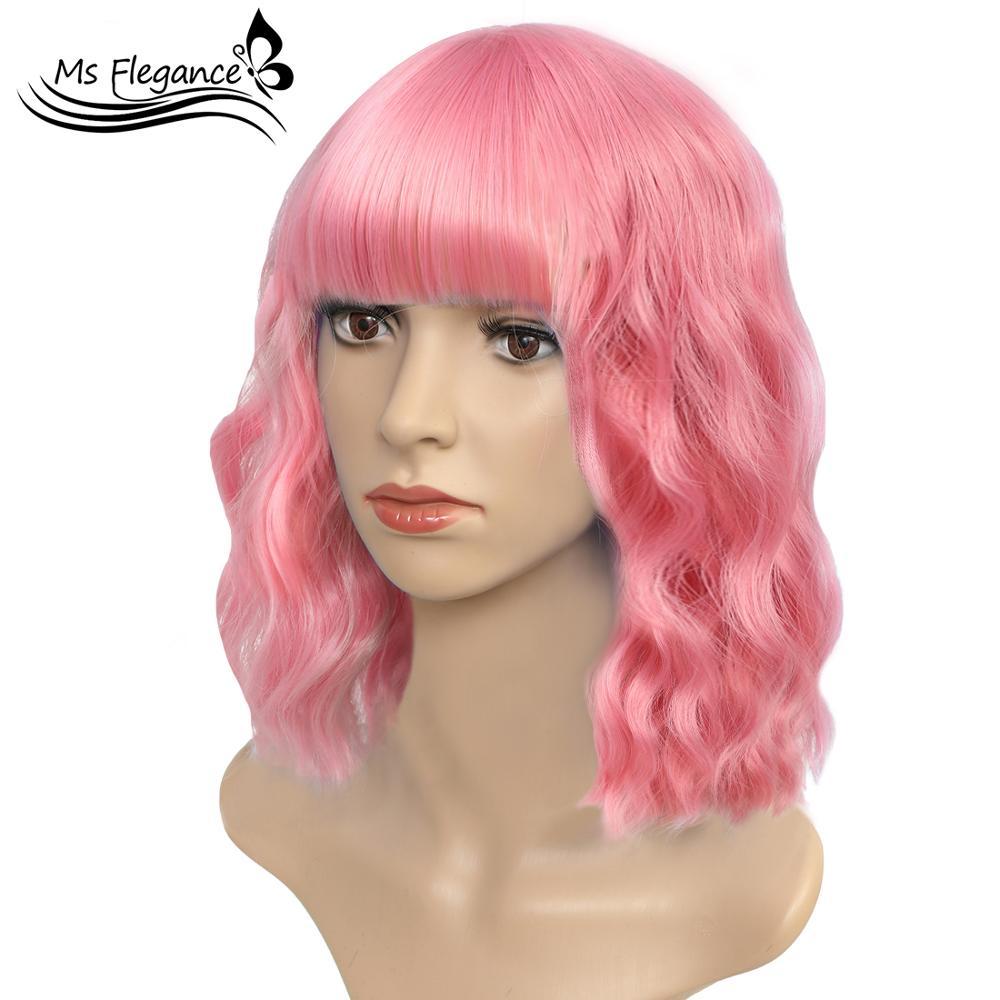 Ms frete grátis 16 polegadas colorido curto ondulado peruca com ar bang perucas sintéticas para as mulheres natural bob perucas de fibra resistente ao calor