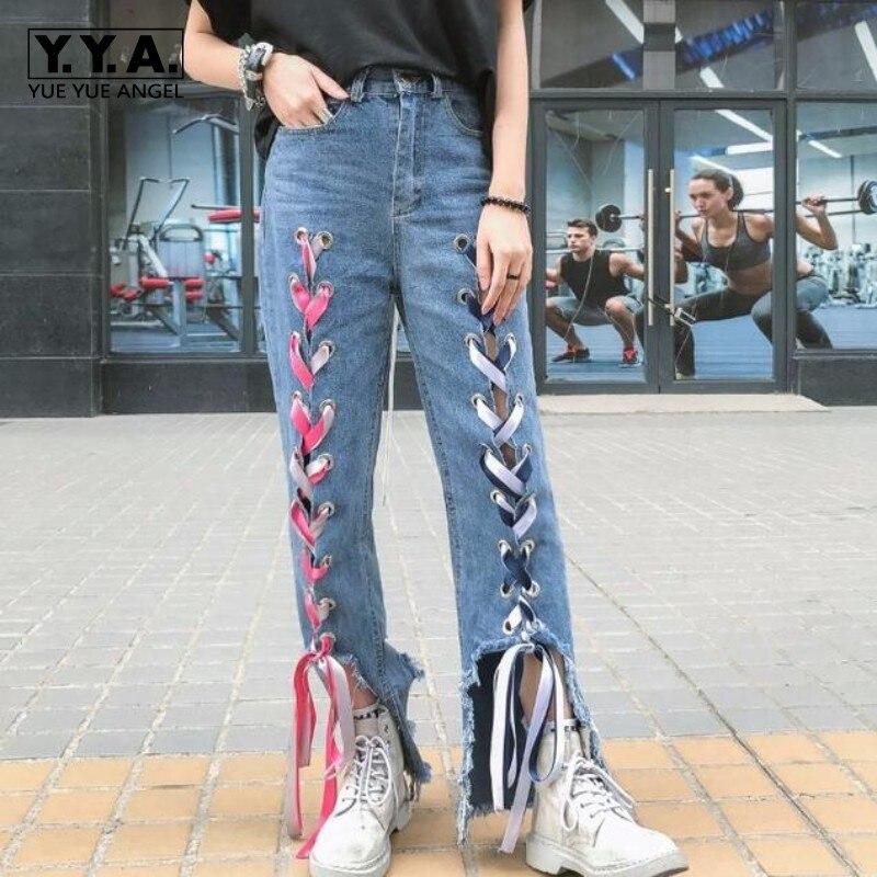بنطلون جينز نسائي غير رسمي ، بنطلون دينم ، فضفاض ، ممزق ، بفتحات ، ملابس الشارع ، مصمم أزياء ، بنطلون متوسط الخصر