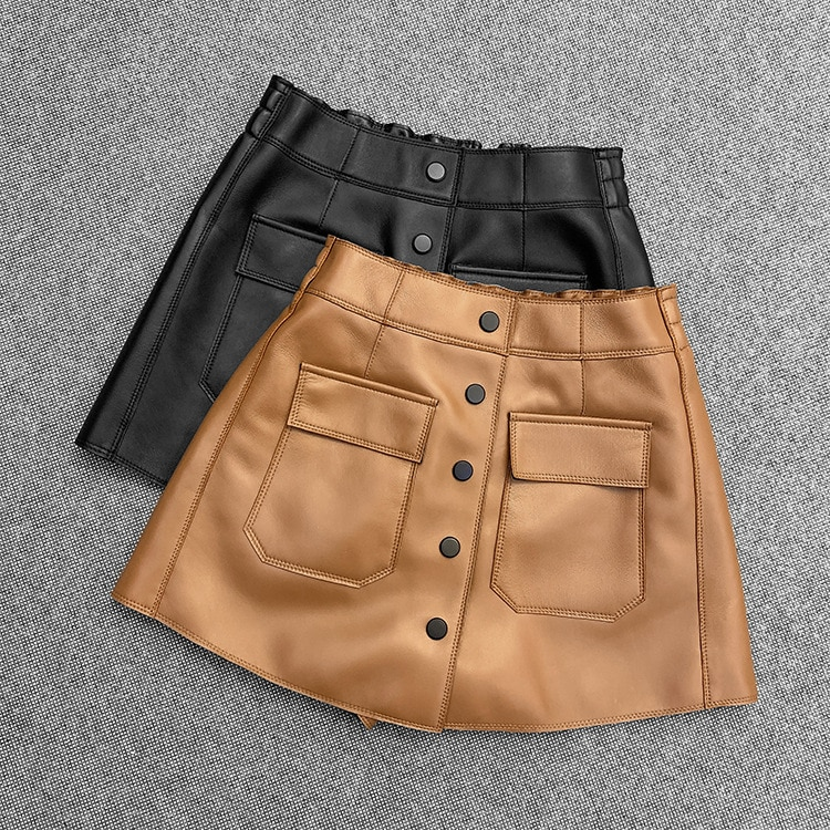 Spring Autumn High quality Sheepskin Real leather short pants Fashion women's casual genuine leather pockets pantskirt C634