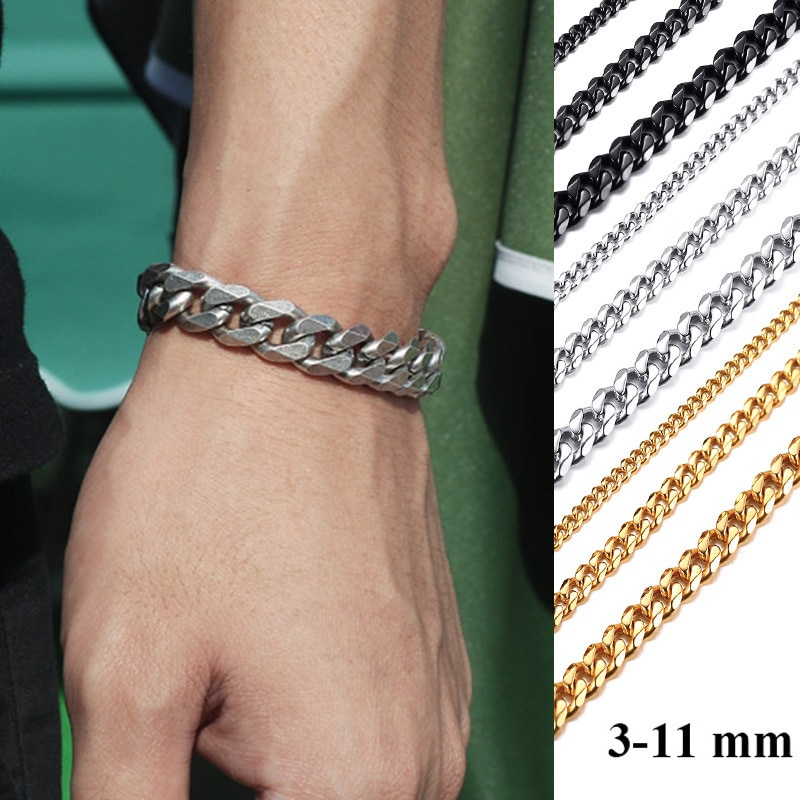 Vnox Basic 3 5 7 9 11mm Wide Curb Cuban Link Chain Bracelets For Men Women Jewelry Anti Allergy Stainless Steel Wristband Gifts Chain Link Bracelets Aliexpress
