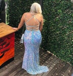 Sexy Long Halter Sequined V-Neck Prom Dresses Mermaid Spaghetti Criss Cross Back Blue Abendkleider Robes de Soirée for Women
