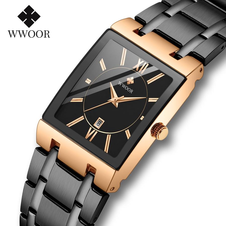 WWOOR Watches For Men 2020 Top Brand Luxury Men's Square Quartz Wrist Watches Stainless Steel Waterproof Gold Clock reloj hombre