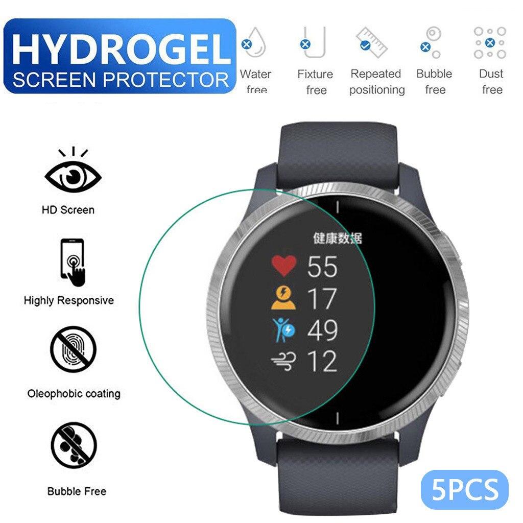 5 uds TPU hidrogel suave película protectora transparente para pantalla para Garmin Venu reloj Protector de pantalla Smart Watch Accesorios