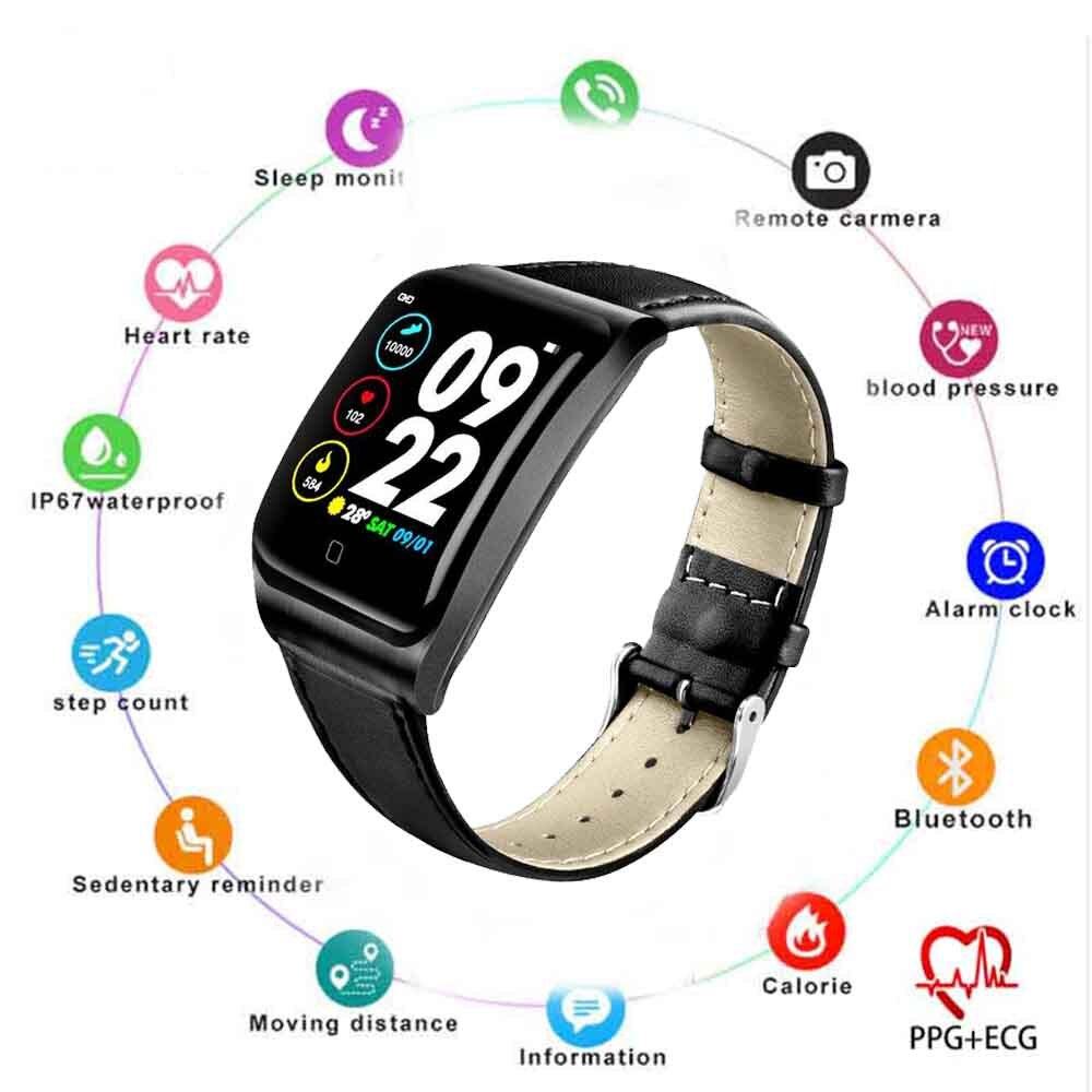 Reloj inteligente E58 ECG + PPG IP68 a prueba de agua reloj inteligente E58H presión arterial Monitor de ritmo cardíaco Deporte Fitness Tracker pulsera hombres