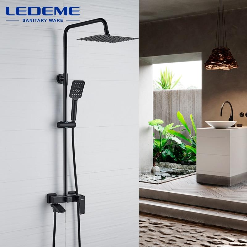LEDEME الأسود دش صنبور مجموعة الأمطار حوض الاستحمام الحنفية الحمام الجرف المياه دش الحنفيات L2478 L2478B