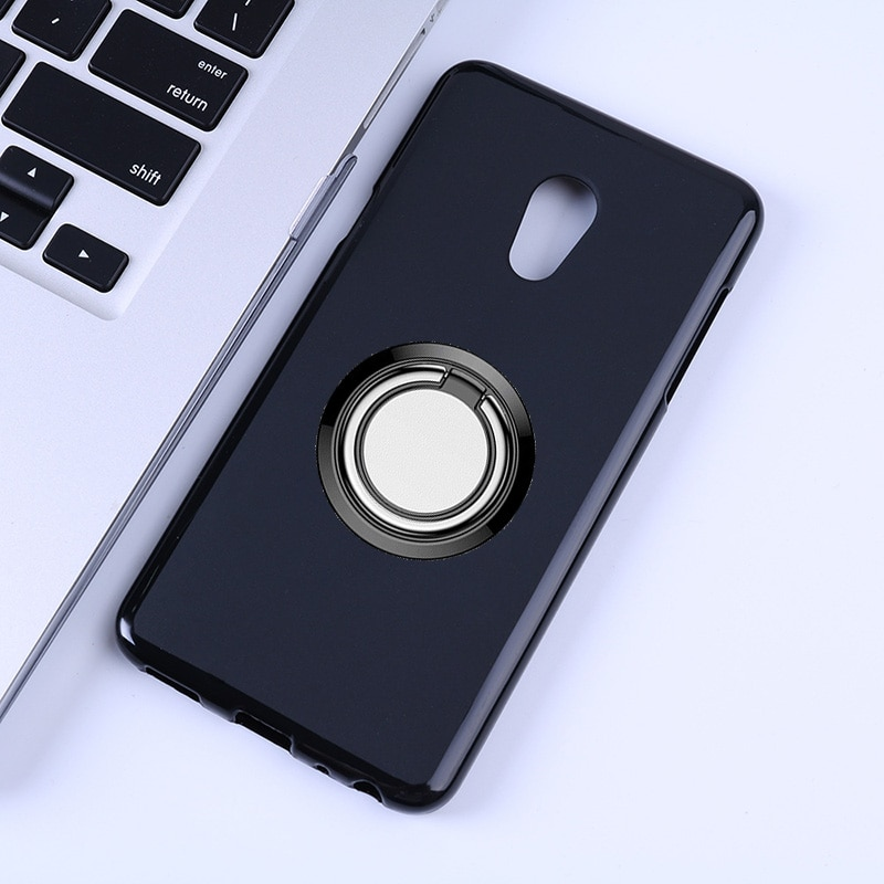 for Meizu 15 Lite Back Ring Holder Bracket Phone Case Cover Phone TPU Soft Silicone Cases for Meizu