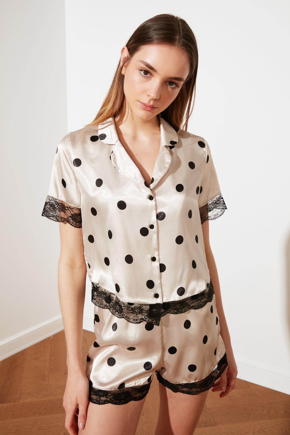 Горошек горошек кружево деталь атлас пижама комплект