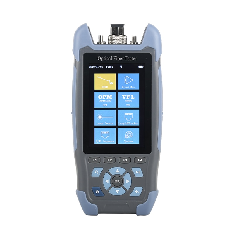 Mini fibra OTDR 9 funciones en 1 Handheld con VFL OPM OLS + RJ45 cable de red Ethernet testCable secuencia distancia Tracker