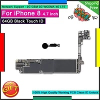 for iphone 8 motherboard 64gb original logic board black touch id home button unlocked good working mainboard tested plate