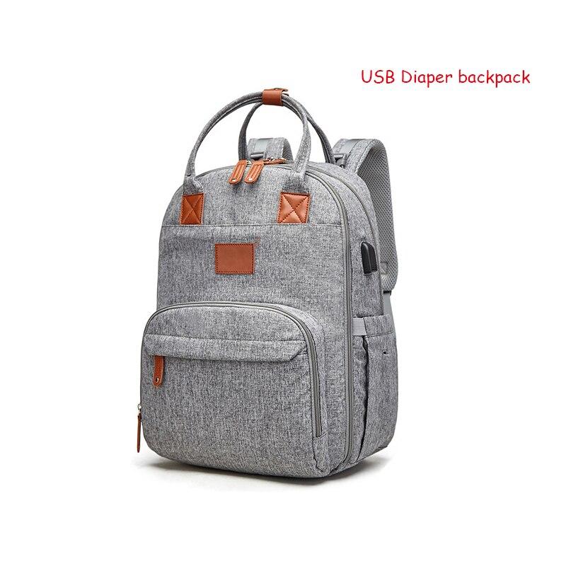 Bolsa de pañales de maternidad, mochila para mamás, cochecito, cochecito, bolsa de cochecito, mochila de viaje impermeable USB para amamantar a mamá, mochila de cambio