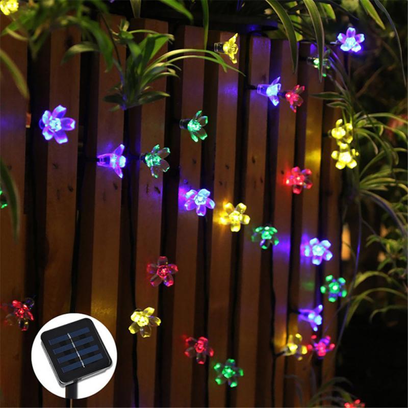 7M 50LEDs String light Solar Powered Outdoor LED Garden Fairy Light Multi Coloured Outdoor Christmas Strip Street Lamp dropship