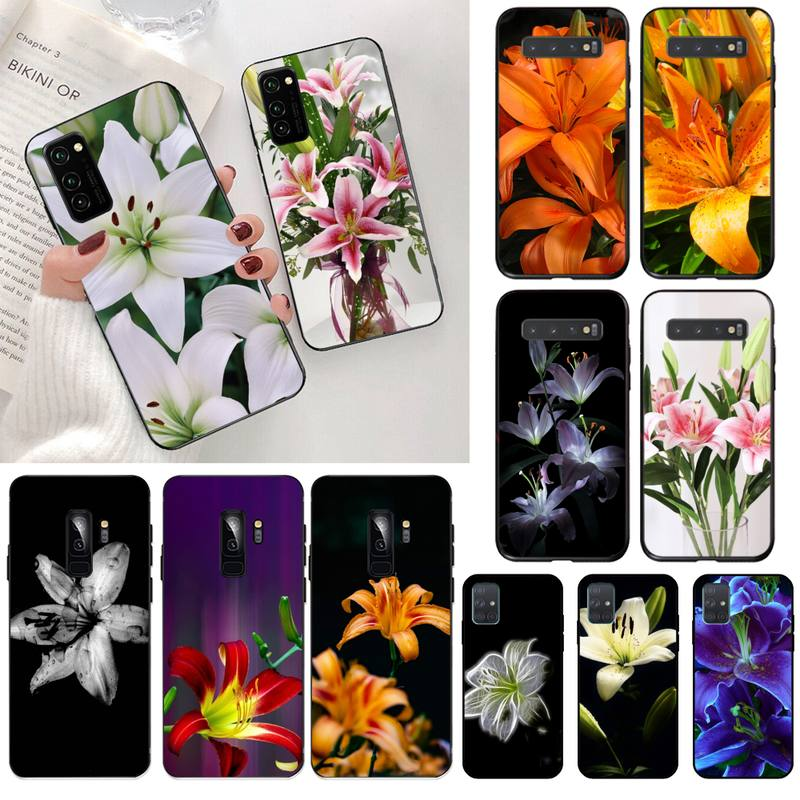 Lily Flowers Black Cell Phone Case for Samsung S20 plus Ultra S6 S7 edge S8 S9 plus S10 5G lite 2020