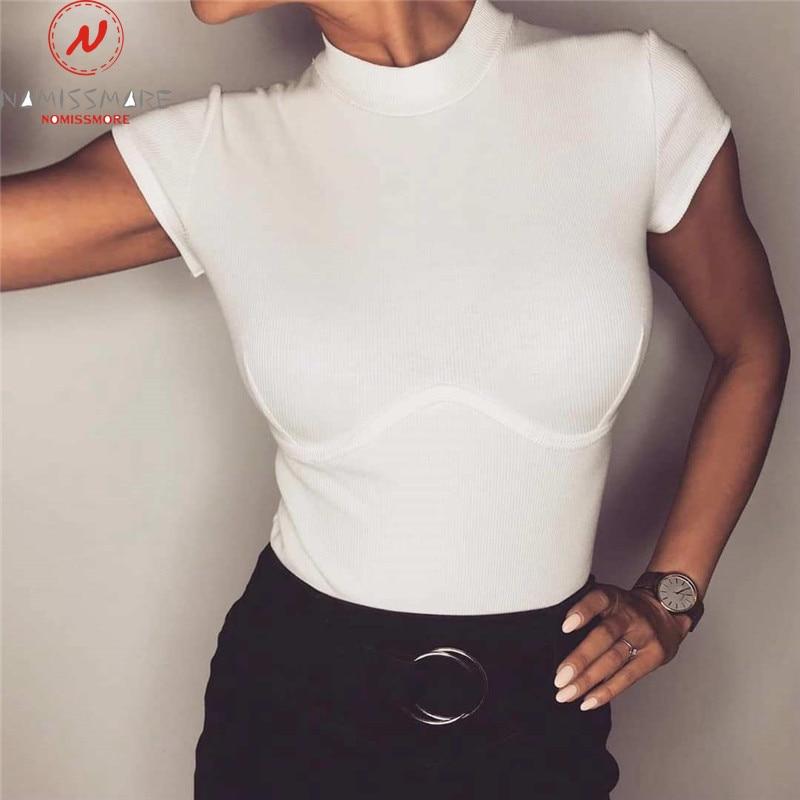 Women Summer T-Shirts Patchwork Design O-Neck Short Sleeve Solid Color Top Fashion Lady Summer Slim Breast Enlargement Shirts
