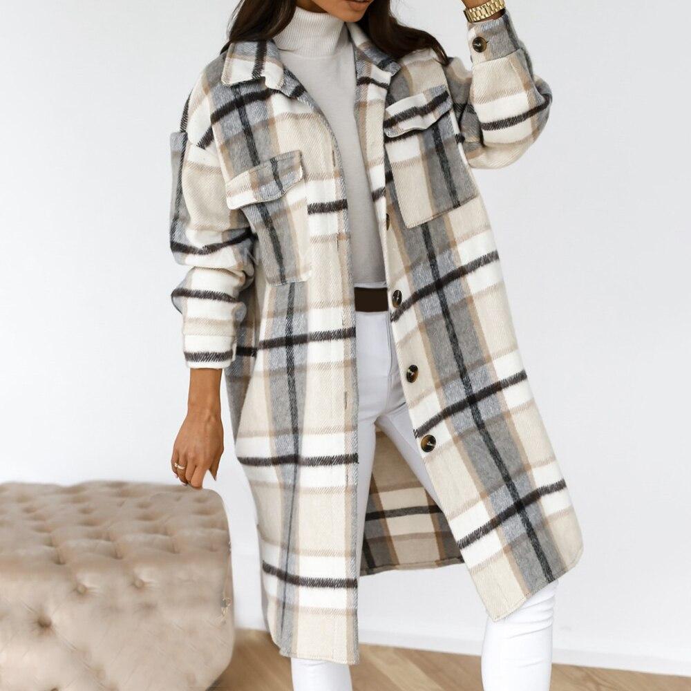 Chaqueta de invierno a cuadros para mujer y sobretodo de abrigo largo...
