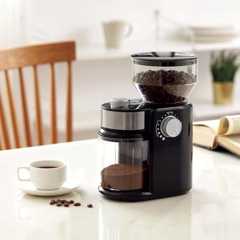 AU-مطحنة القهوة الكهربائية ، آلة طحن حبوب القهوة ، نتوءات مسطحة ، مقبس الاتحاد الأوروبي