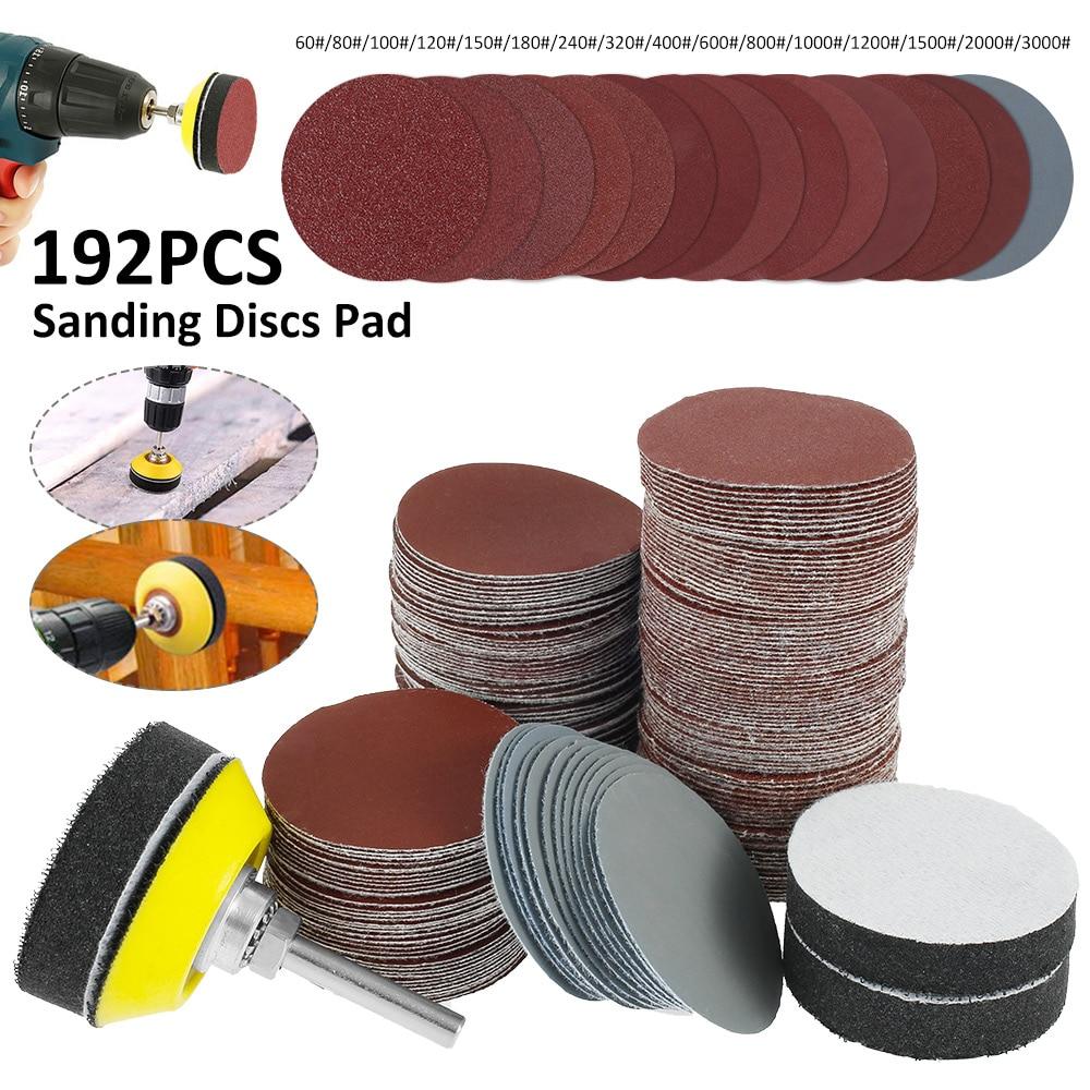 Discos de Lixamento de Alta Almofadas de Espuma Haste para Ferramentas de Polimento Qualidade + 3 Macia + 1pc Placa de Apoio com 1 Polegada 192 Pçs 50mm – 4