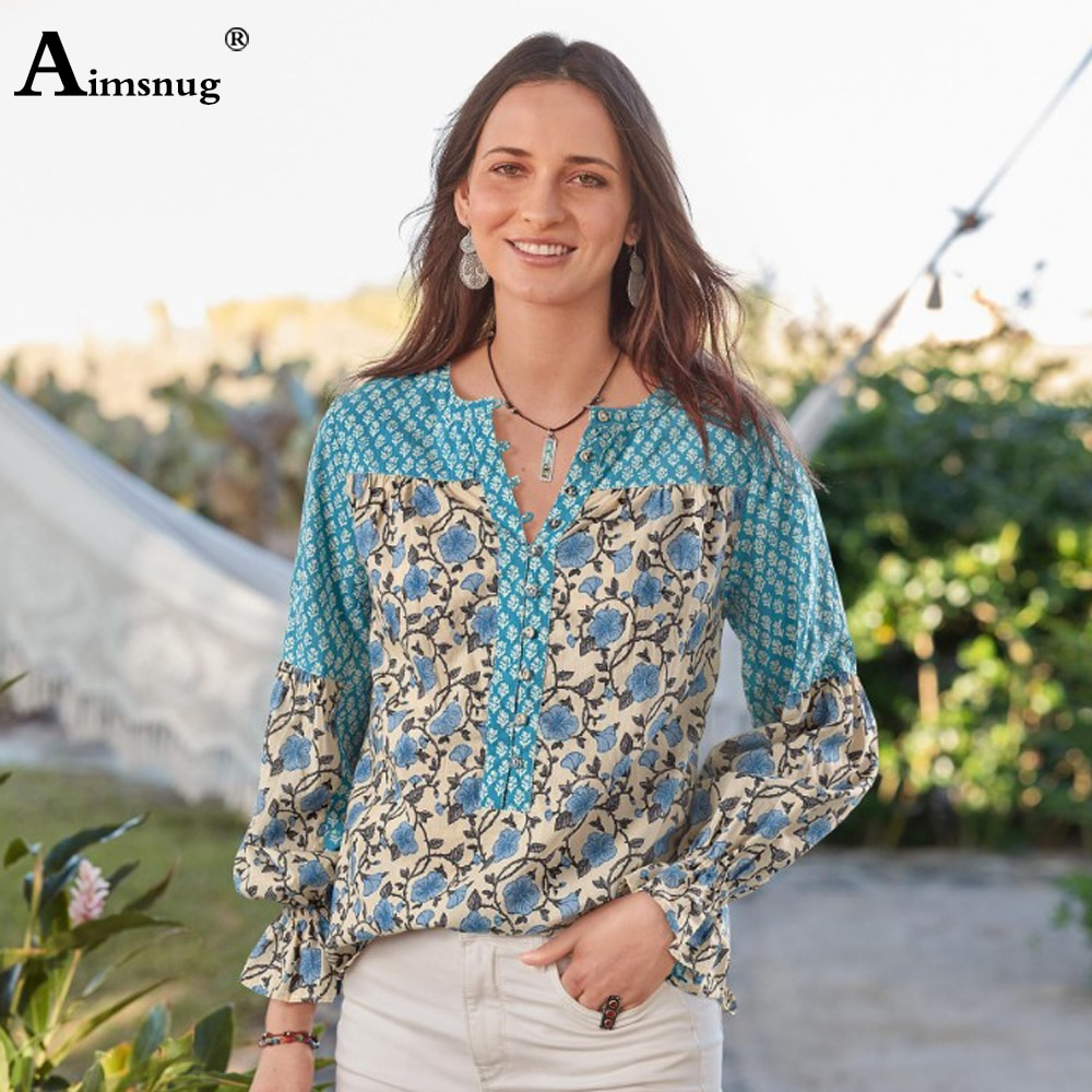 2020 Women Summer Blouses Autumn Casual Shirts Female V Neck Splice Boho Print Blusas Ruffles Long Sleeve Fashion Tops Pullovers