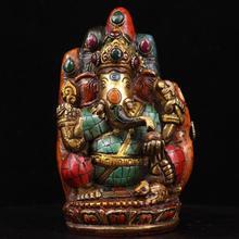 الزفاف الديكور مجموعة التبتية من النحاس النقي جزءا لا يتجزأ من جوهرة الفيروز البرغموت الفيل الأنف فورتونا تمثال