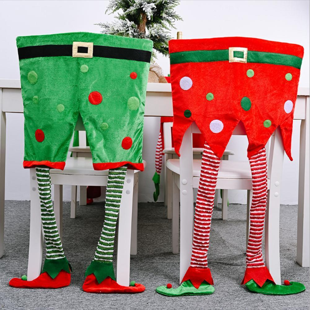 Niewe Jaar Diner Tafel Stoel чехлы на Рождество Elf Fluwelen Stoel Benen Opknoping Back Stoelen вечерние рождественские Чехлы Doek Home U1S1
