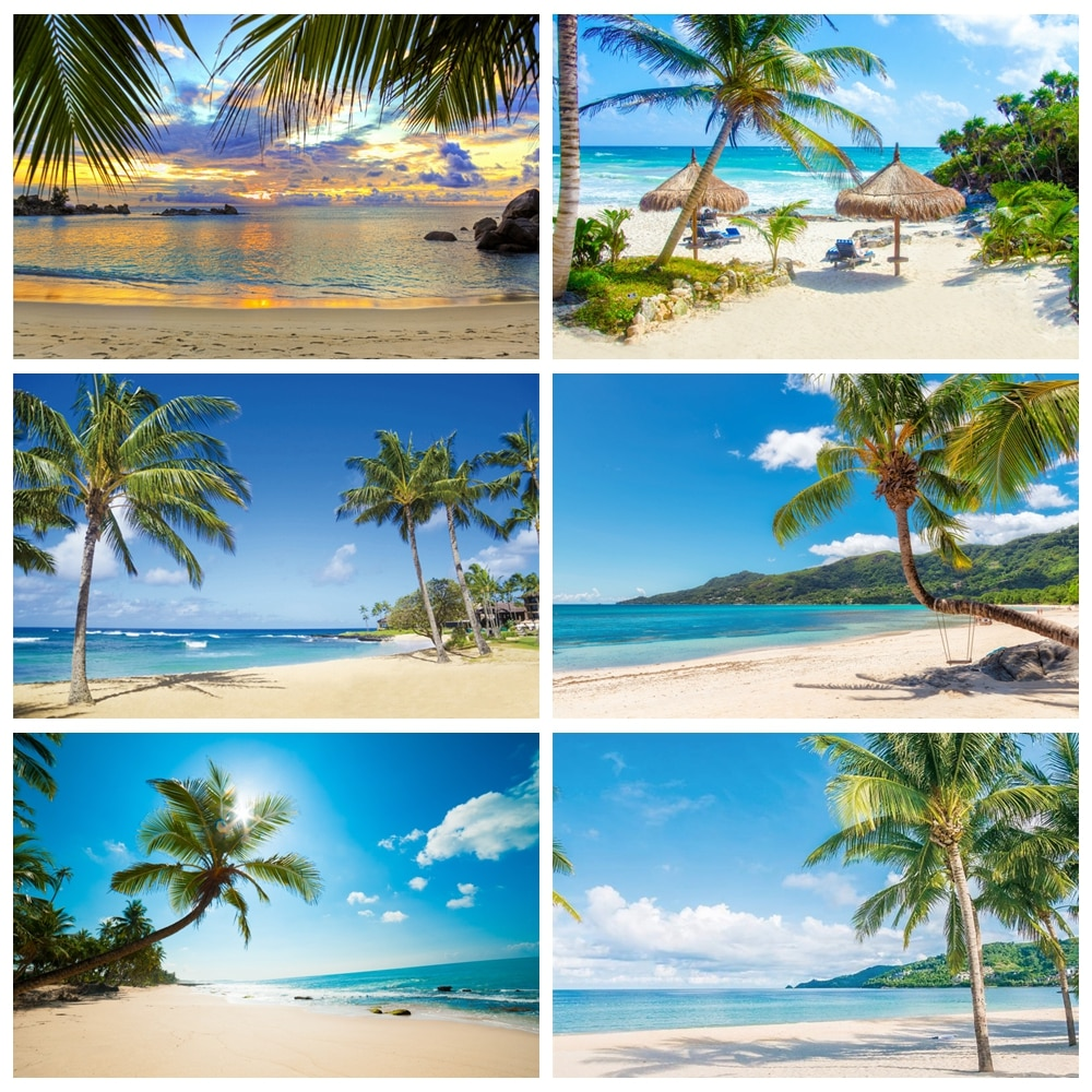 laeacco natural backdrops for photography palms tree beach sand summer holiday blue sky scenic photo background photo studio Summer Tropical Sea Beach Palms Tree Aurora Summer Holiday Natural Scenic Photo Background Photo Backdrop Photocall Photo Studio