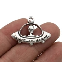 10pcs antique silver plated alien charms pendants for jewelry making diy handmade craft 31x23mm