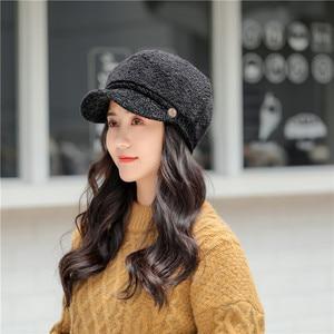 Winter New Ladies Fashion Hats High Quality Lamb Hair Berets Korean Wild Outdoor Warm Cap Girl Visor Newsboy Caps Women's Kepi