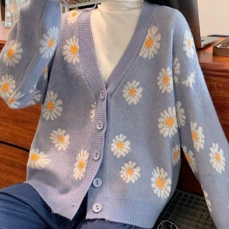 Винтажный свитер, женские вязаные кардиганы, женский свитер для колледжа, Модные свободные короткие пальто с цветочным принтом, Осень-зима