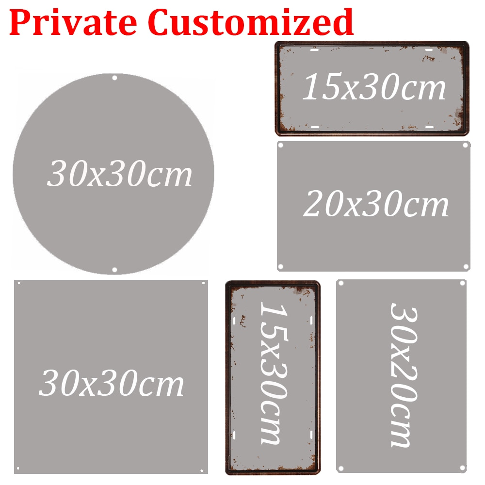 Retro Metal Tinplate Customize Poster Plate Vintage Tin Sign Round Square Rectangle Plaque Wall Decor 15/20/30cm