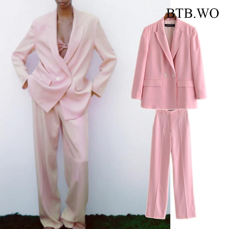BTB.WO Za 2021 Women Office Suit New Fashion Blazer Pink Pantsuit Double Breasted Jacket Female Straight Pants 2 Pieces Set