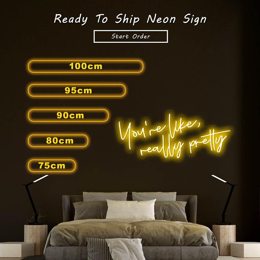 Custom Led Neon Sign You're Like Really Pretty Flex Led Light Signs For Home Decor Bar Pub Club  Bedroom Wall Decoration enlarge