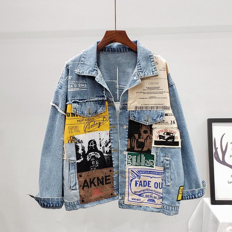 Женская Асимметричная джинсовая куртка, свободная Асимметричная куртка из денима с буквенным принтом, верхняя одежда