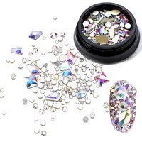 3 style flatback rhinestone nail art decorations ozdoby do paznokci diamond glitter glass nail art rhinestones bottom crystal