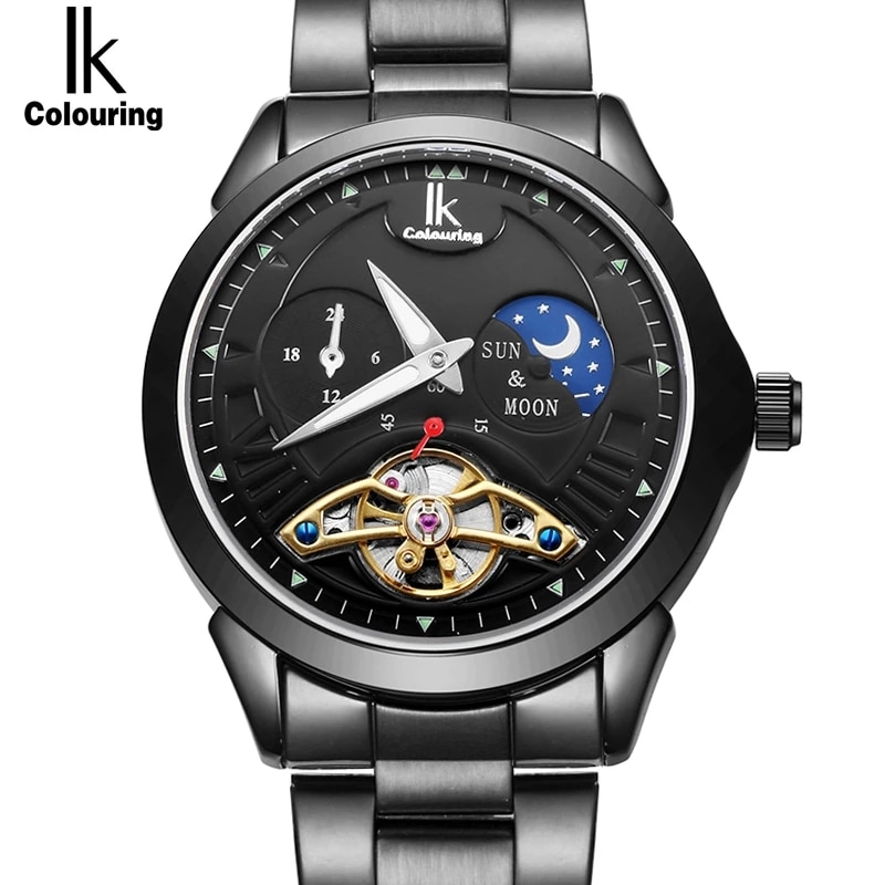 IK 2019 Moon Phase Function Luxury Top Brand Men's Watch 24 hour Steel Band Gold Skeleton Automatic Mechanical clock