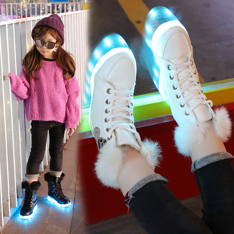 7ipupas Glowing Boots for Boys Girls and Women USB Recharged Light Up Shoes Warm Plush High-top Children Winter Boots enlarge