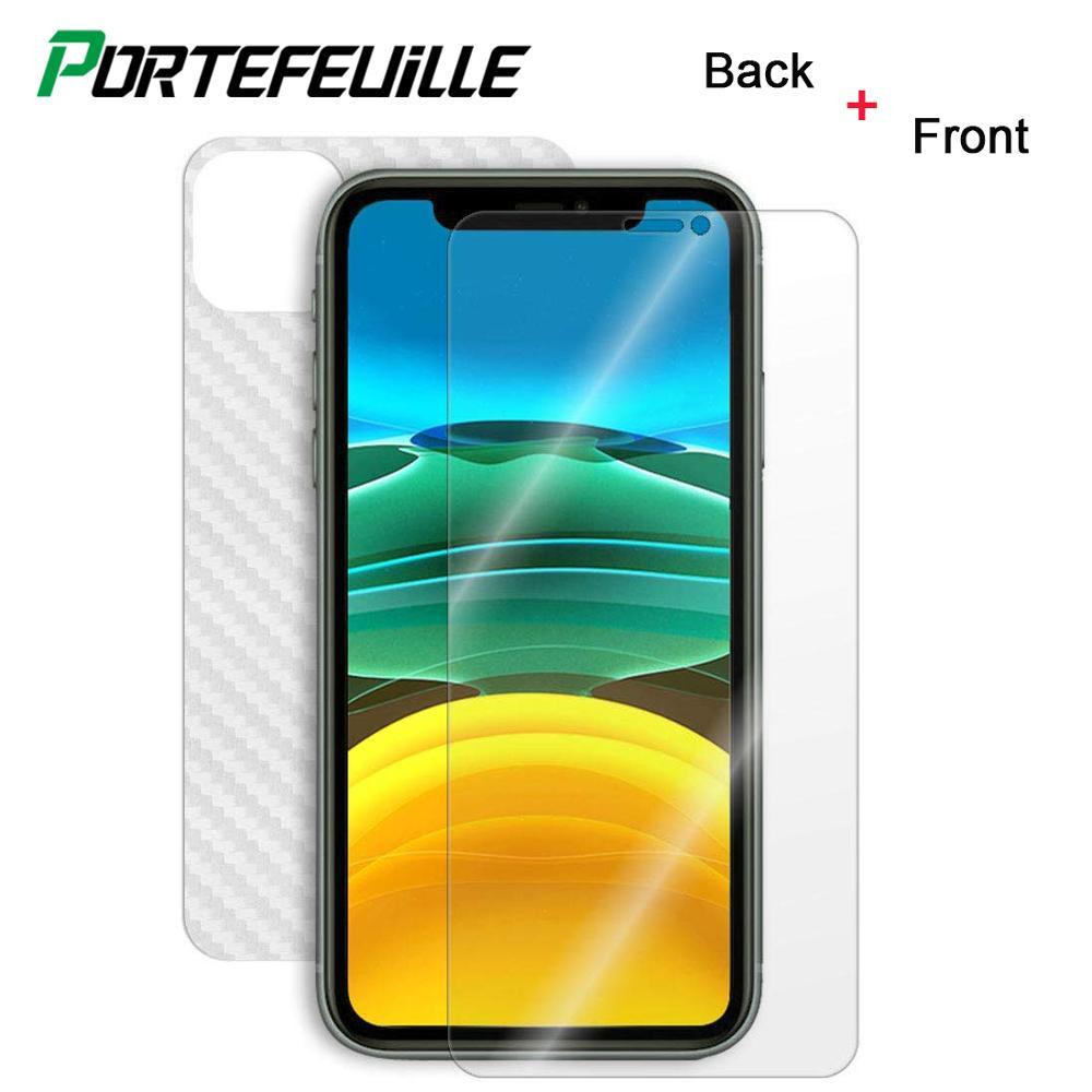 Protector de pantalla trasera de fibra de carbono para iphone 11 Pro Xs Max Xr X película protectora cristal templado frontal para iphone 6 7 8 Plus 4 5