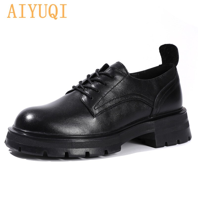 AIYUQI Oxford Shoes Women Genuine Leather 2021 New Autumn Fashion British Style Lace Up Thick Sole S