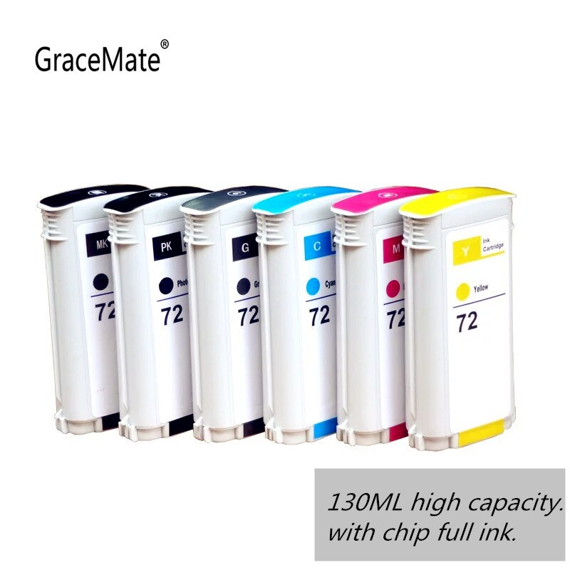 GraceMate 72, reemplazo de cartucho de tinta para HP 72, para HP DesignJet T1100 T1120 T1120ps T1300ps T2300 T610 T770 T790 T795 130 ml/unid