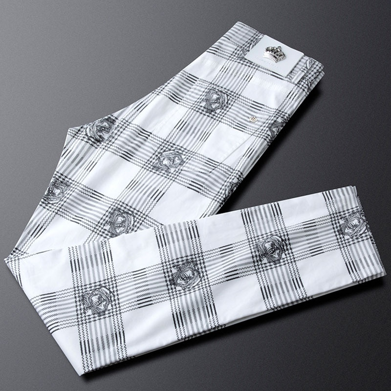 Fashion Plaid Cotton Business Casual Pants Men's Straight Summer Thin Breathable Men's Tapered Pants