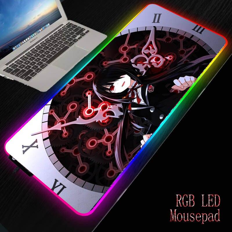Mairuige التسجيل لايف DIY RGB أنيمي ماوس الفأر للماء الملونة LED الإضاءة الألعاب لوحة الماوس حصيرة مكتبية ل جهاز كمبيوتر شخصي محمول