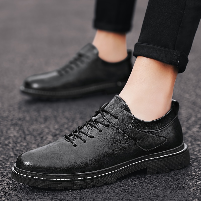 casual british style vintage thick soles platform shoes retro female harajuku lace up flat leather shoes college woven creepers Men Casual Shoes Spring Autumn Split Leather Thick shoes Wear-resistant Shoes lace up British Style Men's Shoes Outdoors