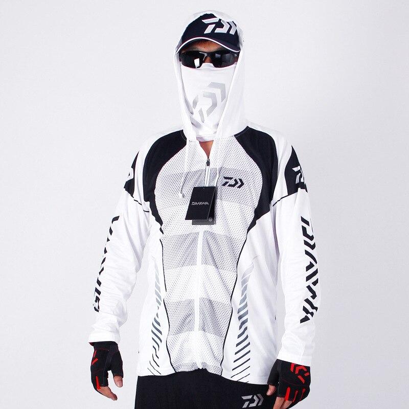 2020 marca famosa capucha transpirable de malla para hombre Daiwa deportes de Pesca al aire libre ropa de Pesca Dawa nueva camiseta de Pesca blanca